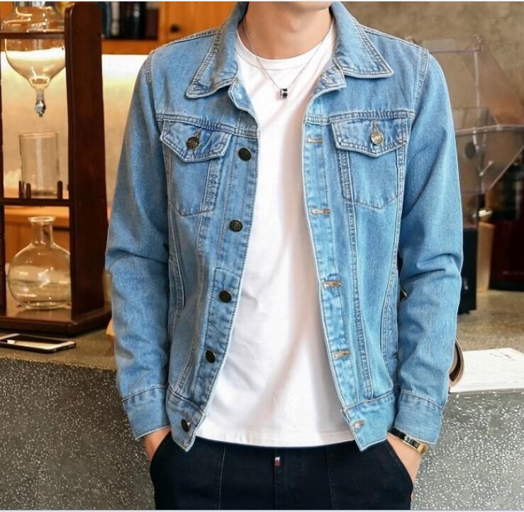 Autunno della molla nuova bavero giacca di jeans da uomo coreano giacca casual Giacca di jeans tuta sportiva del cappotto