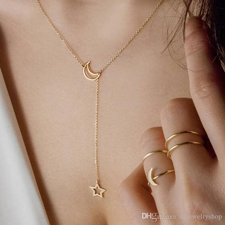 Простой шикарный мода Луна Звезда кулон ожерелье цепи очаровательные украшения на День Рождения для женщин и девочек серебро золото