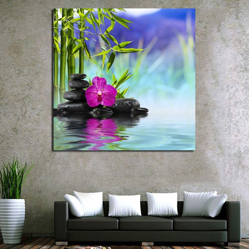 Taşlar Yeşil Bambu Çiçek Zen Poster Kanvas Boyama Baskı Salon Ev Dekorasyonu Modern Wall Art Oil Resimleri Artwork Boyama