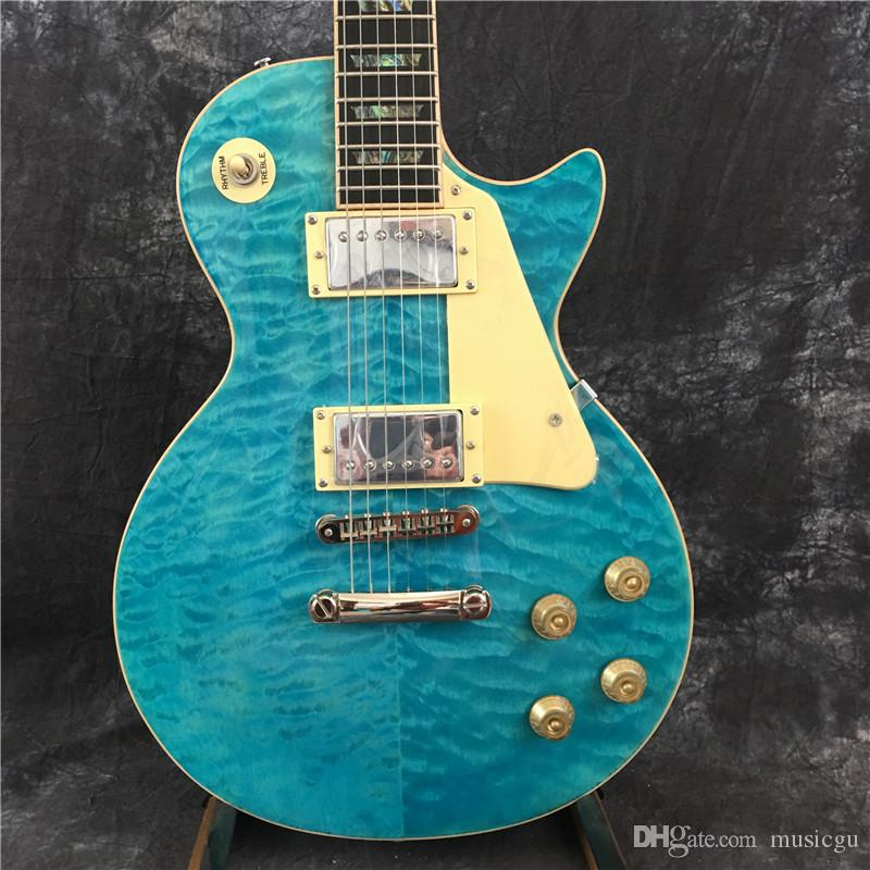 2020 chitarra elettrica di colore della chitarra lp abalone intarsiato, fiore blu, il trasporto libero
