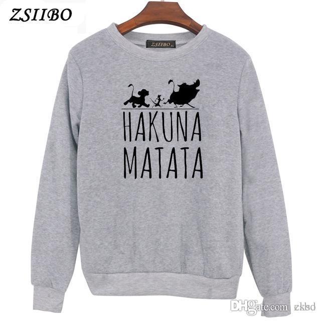 Hakuna Matata letter Print Womens Felpe con cappuccio manica lunga O collo Felpa con cappuccio Pullover maglione Top Autunno Inverno Cappotto WY54