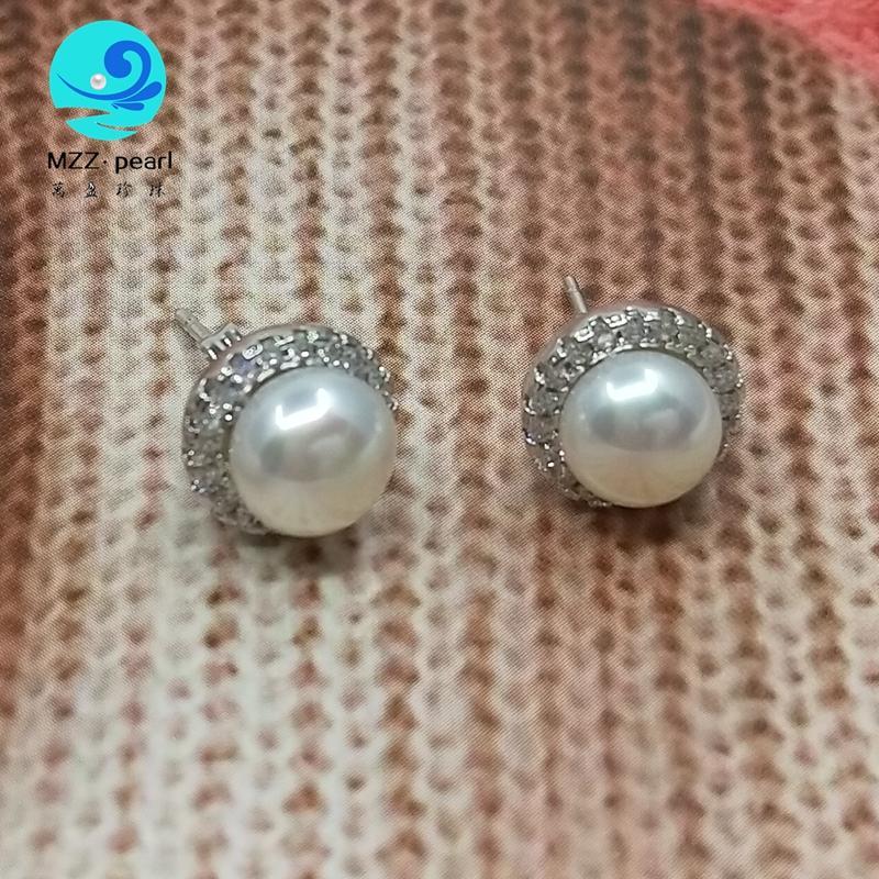 Pendientes de cristal Pendientes de perla delicada joyería de plata 925 8-9mm pendientes con estilo para las niñas
