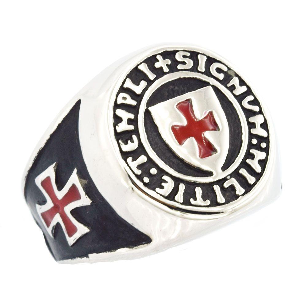 mens acciaio inox FANSSTEEL wemens scudo masonary libero gioielli Templari smalto rosso Croce anello massonico regalo FSR11W86