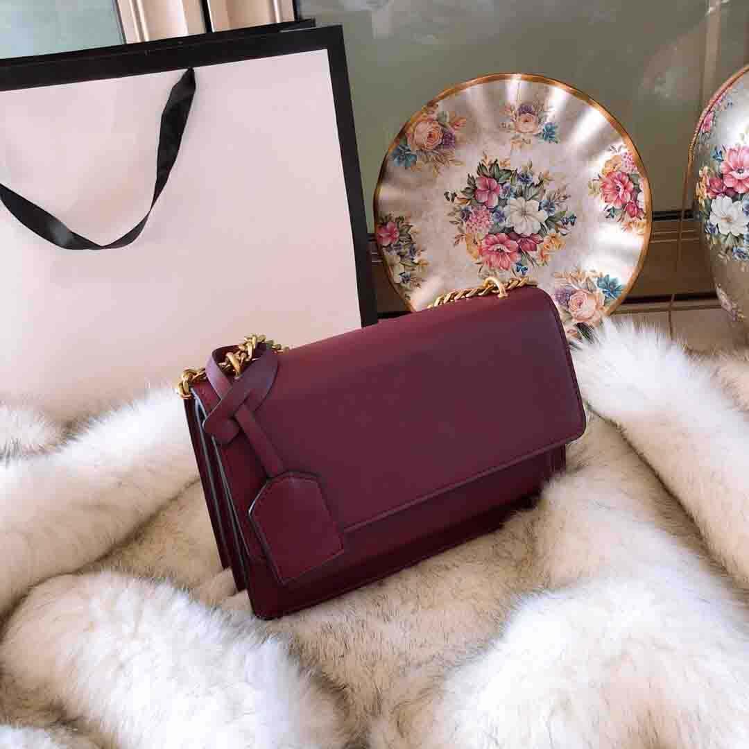 Nuevo bolso caliente diseñador de la venta de moda Lady Bolsa de hombro del cuero genuino de la cadena de metal Crossbody Bolsa bolsa de la moneda común Color Smooth