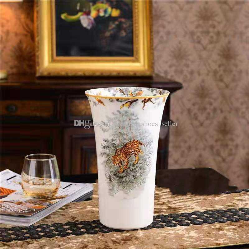 High-end Ceramic Vase Animal Vase Home Decoration Furnishing Articles European style Leopard pattern Porcelain vase Housewarming gift