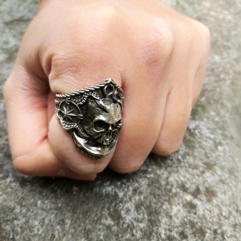 Aleación Skull anillos pirata ancla brújula gótica Biker anillo Punk joyería