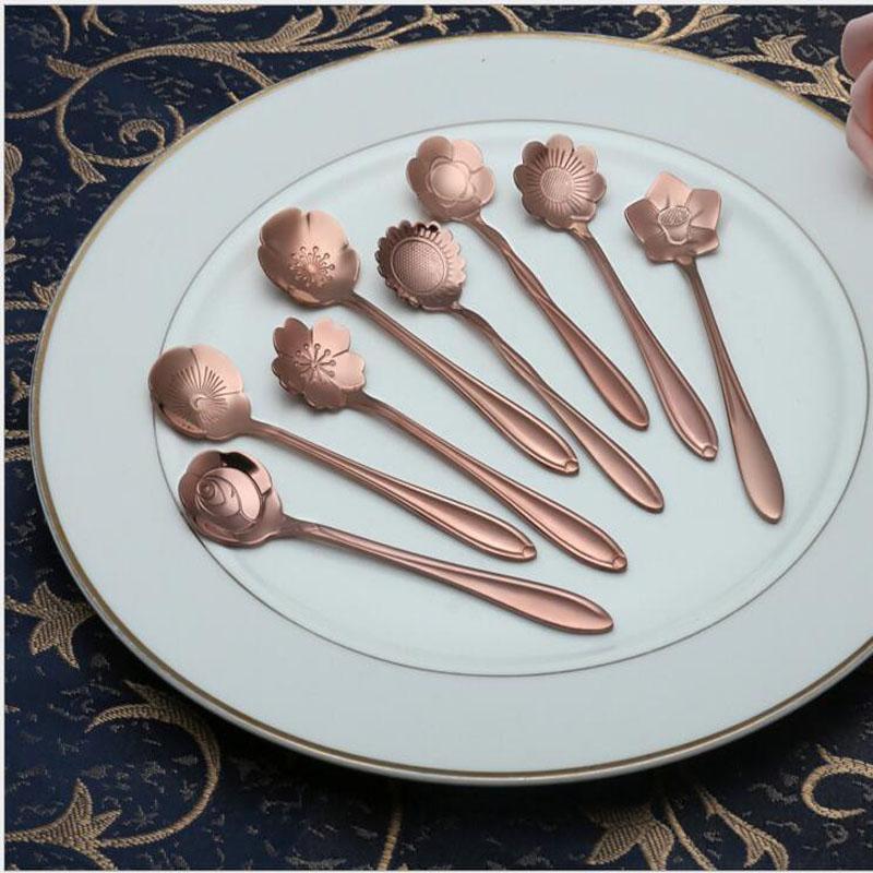 Aço Eco-Friendly Blossom inoxidável colher de café Ice Cream colheres de sobremesa Colher com dourado Rosa dourado Cor para a Opção