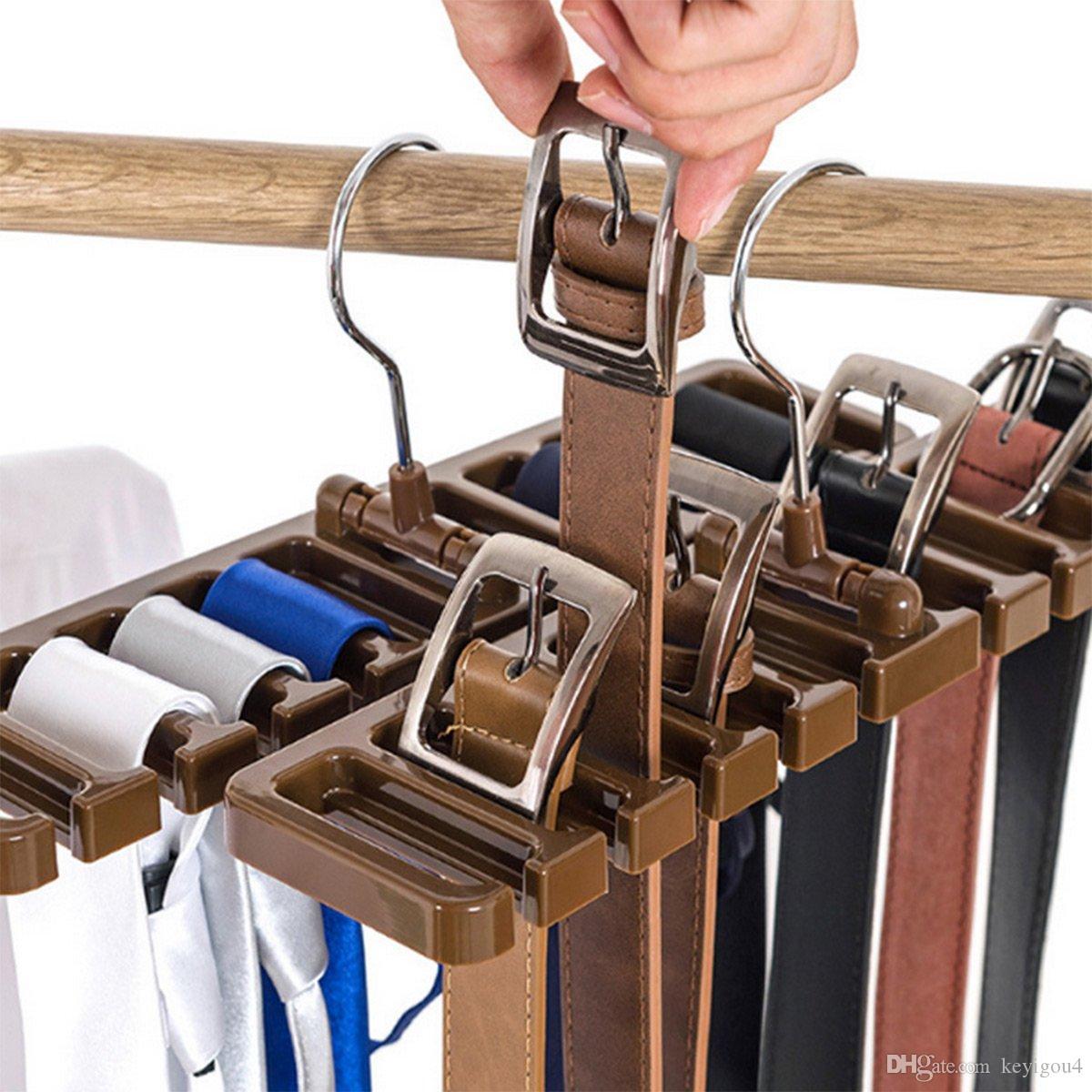Pack of 2 tie rack Belt Organizer Armazenamento, Multifuction Rotating Ties Scarf Hanger Titular Closet Organização Roupeiro Prateleira Acabamento