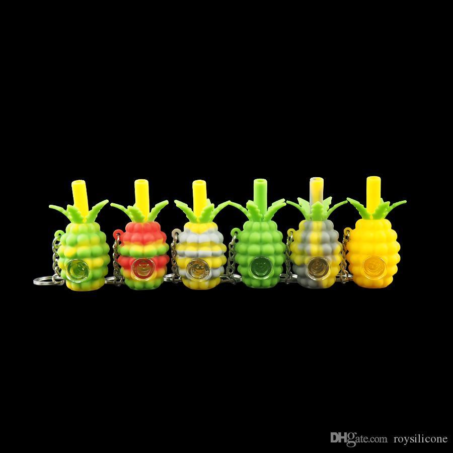 Atacado pequeno chaveiro de abacaxi cachimbo criativo Tubos de Mão de Silicone Tabaco Pirex Colorido Bongo bonito com removível tigela de metal