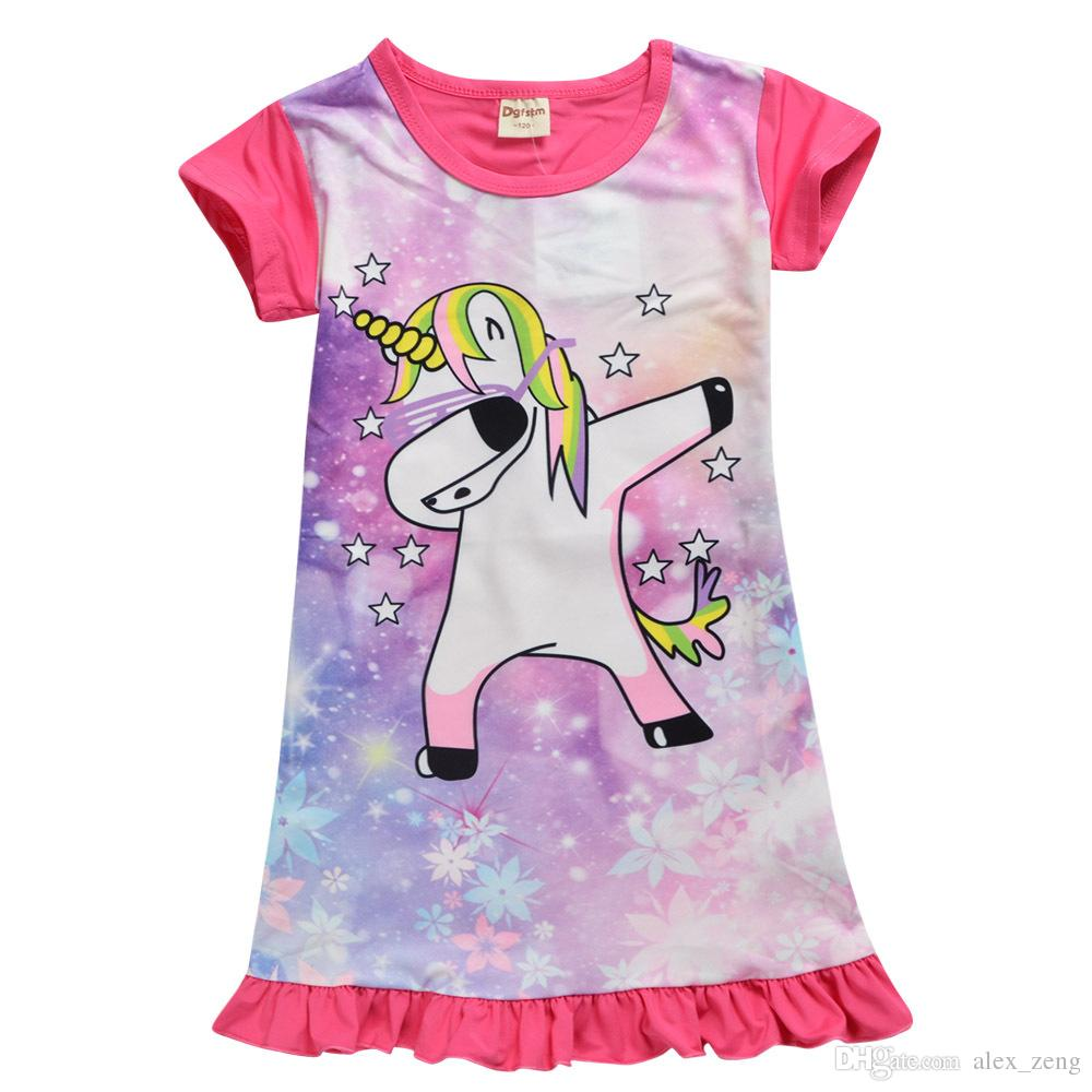 يونيكورن متوسط طول التنورة للملابس بنات اطفال اطفال بنات اللباس يونيكورن الكرتون ثوب النوم اللباس الصيفي للأطفال الأطفال