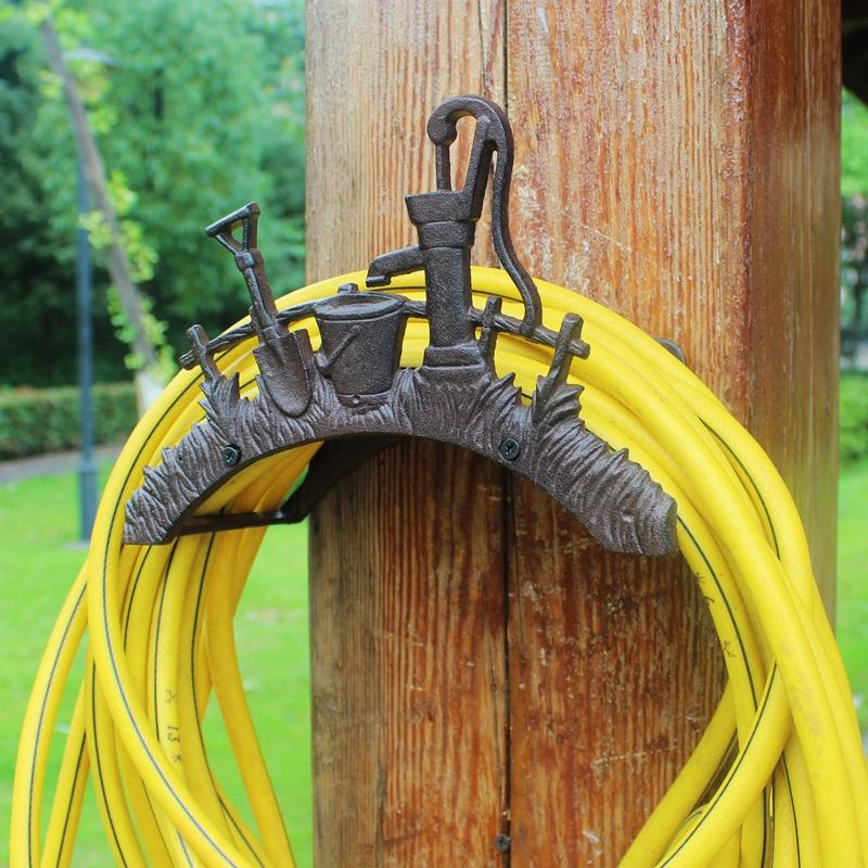 Wrought Iron Hose Rack Holder Shovel Garden Decorative Hose Reel Hanger Stand Cast Iron Antique Rust Wall Mount Vintage Ornament Home Decor