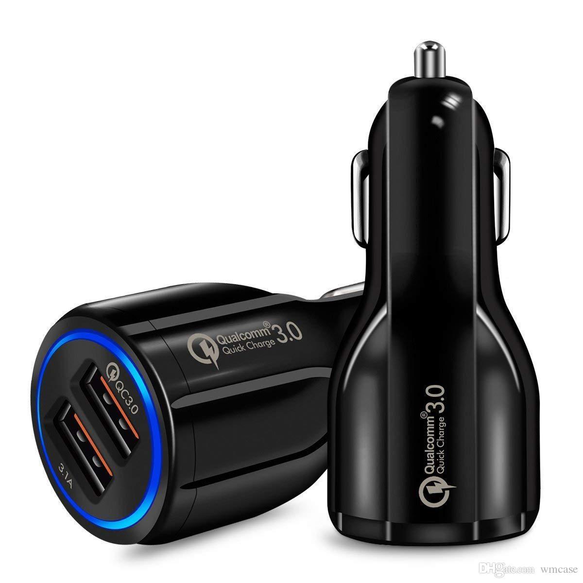 شاحن سيارة USB مزدوج لجهاز Samsung Galaxy S9 S8 Note 9 8 Iphone X XS QC3.0 Fast Charge 3.1A Qualcomm Quick USB 2 منفذ مع حزمة opp