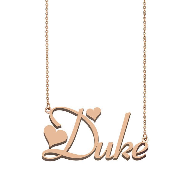 Duke Namenshalsketten-Anhänger für Frauen-Mädchen-Geburtstags-Geschenk Individuellen Typschild Kinder Best Friends Schmucksachen 18k Gold überzogener Edelstahl
