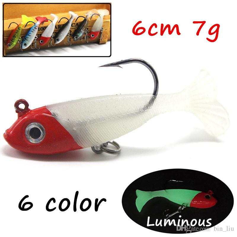 6pcs/lot 3D Eyes Lead + PVC Soft Baits & Lures 6 Colors Mixed 6cm 7g 8# Fishing Hooks BL_11