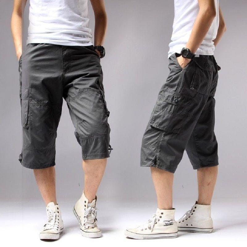 Summer 2018 Long Length Cargo Shorts Men Knee Pocket Casual Cotton Elastic Waist Bermudas Male Military Style Capri Breeche Army S430