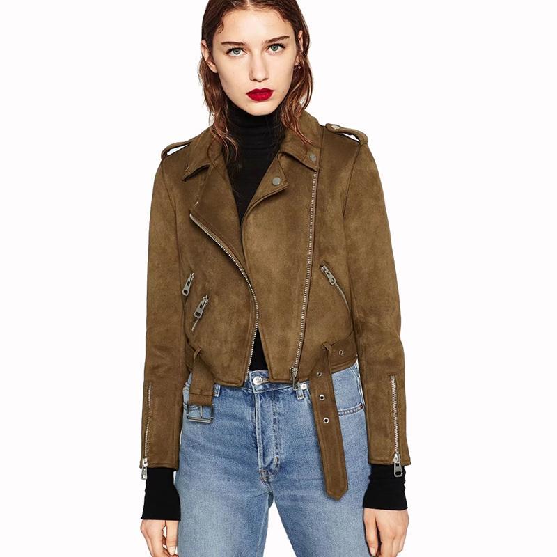 Chica Casual de cuero de gamuza de las mujeres chaqueta de la solapa de manga larga abrigos cortos 2019 Primavera mujer abrigo de Fuax prendas de vestir exteriores Crop Top