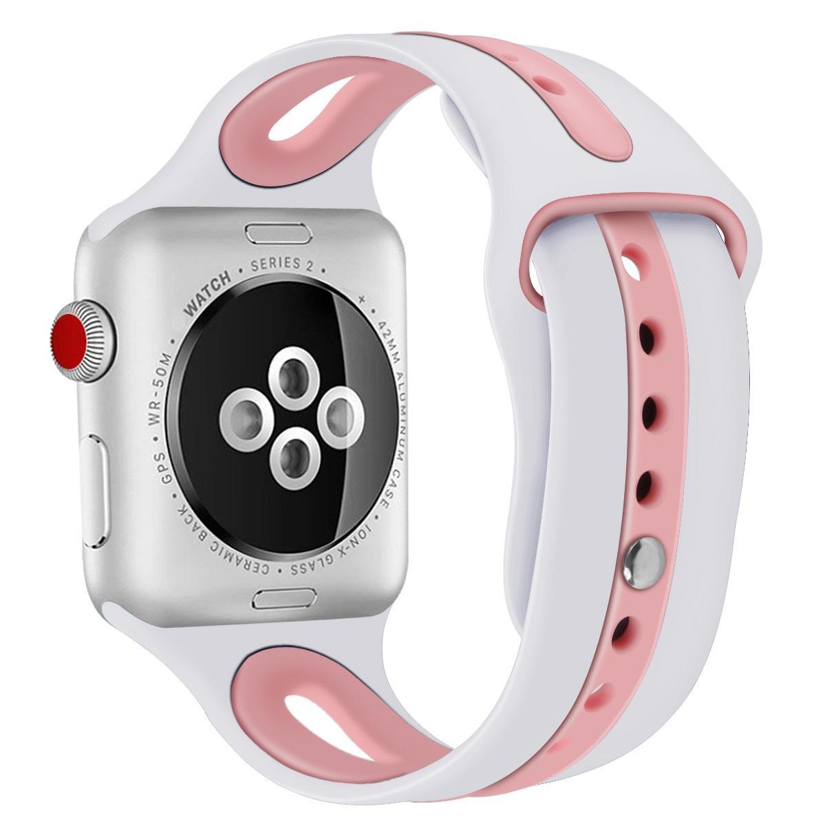 Силикон для Apple Смотреть Band 38мм 40мм 42мм 44mm двойные цвета Каучуковый браслет Спорт Интеллектуальный ремешок для Iwatch 5 4 3 2 1