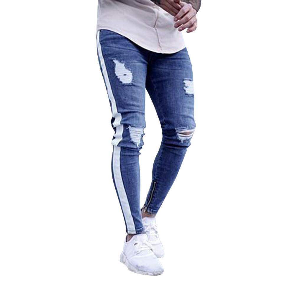 Erkek Sıska Streç Denim Pantolon Pileli Yırtık Slim Fit Kot Pantolon c0311