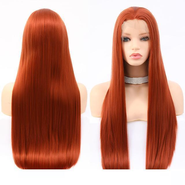 A Cheap Synthetic Hair Wigss Cosplay Heat Resistant Silky Straight Orange Wigs Lace Frontal Synthetic Hair Wigs For Black Women