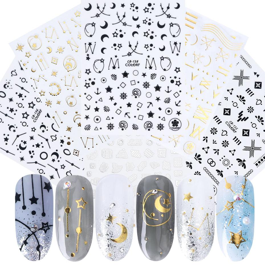 8pcs 3D Nail Sticker Decals Gold Silver White Black Hollow Nail Sliders Heart Moon Wire Tips Art Decorations JICB133-141-1