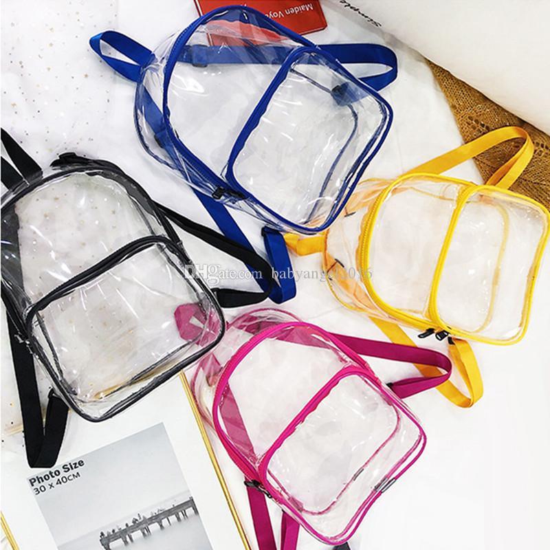Estate nuove donne moda trasparente intero zaino trasparente borse da scuola grande capacità ragazze impermeabili colorate borse da viaggio bookbag spiaggia