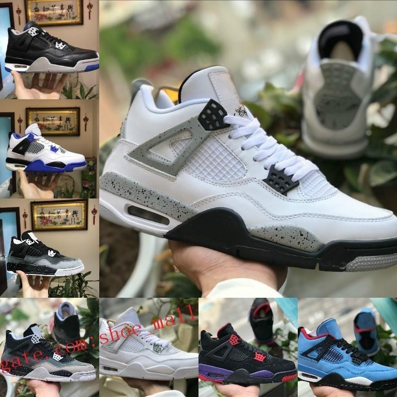 Nike Air Jordan 4 Vendite calde New 4s Pure Money Motorsport Nero Infrarosso NRG Raptors Scarpe da basket Nero Bianco Cemento Graffiti Cactus Mens 4 Bred Sneakers