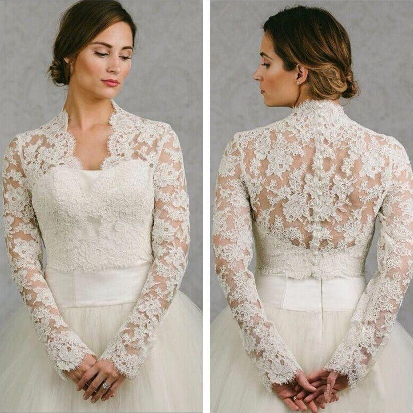 BHLDN 2019 Hochzeit Wrap Lace Jacke Weiß Elfenbein Appliqued Günstige Langarm Brautjacke Bolero Shrug Plus Size Hochzeitskleid Wraps