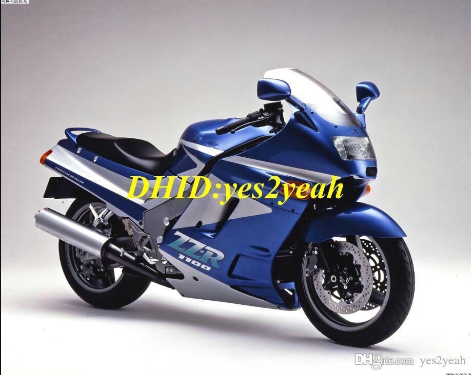 Kit de carenado de motocicleta para KAWASAKI Ninja ZZR1100 90 91 92 ZZR 1100 ZX11 1990 1991 1992 ABS Rojo azul Carenados set + regalos ZD05