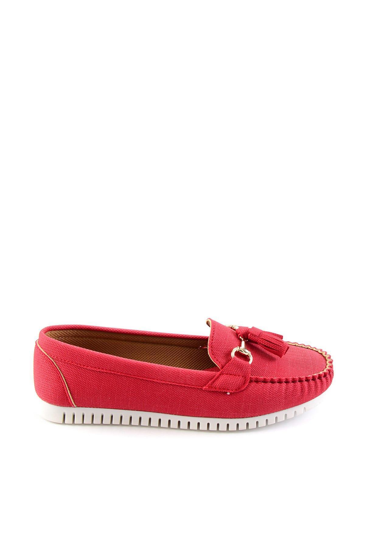 Bambi Kırmızı Kadınlar Loafer Ayakkabı H0651020837