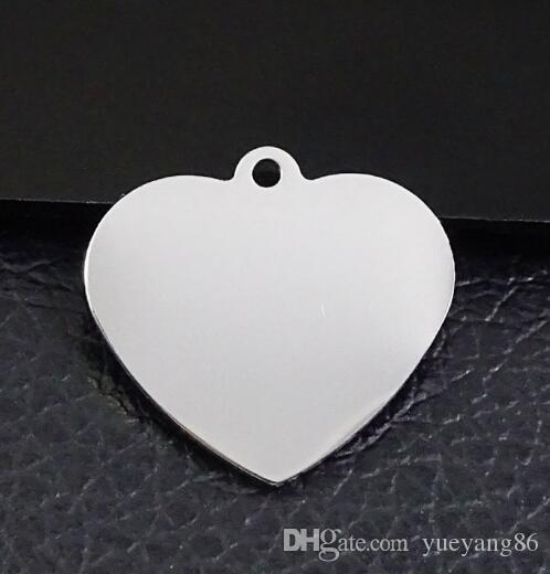 En gros en vrac 12pcs beaucoup haute en acier inoxydable poli argent 30mm amour coeur tag charmes pendentif trouver des bijoux marquage DIY 22 * 26mm taille