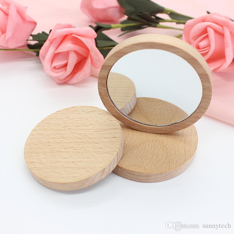 Logo personnalisé bricolage rond en bois miroir portable maquillage miroir ornements de bureau miroirs faveurs de douche nuptiale et décoration de mariage YT0022