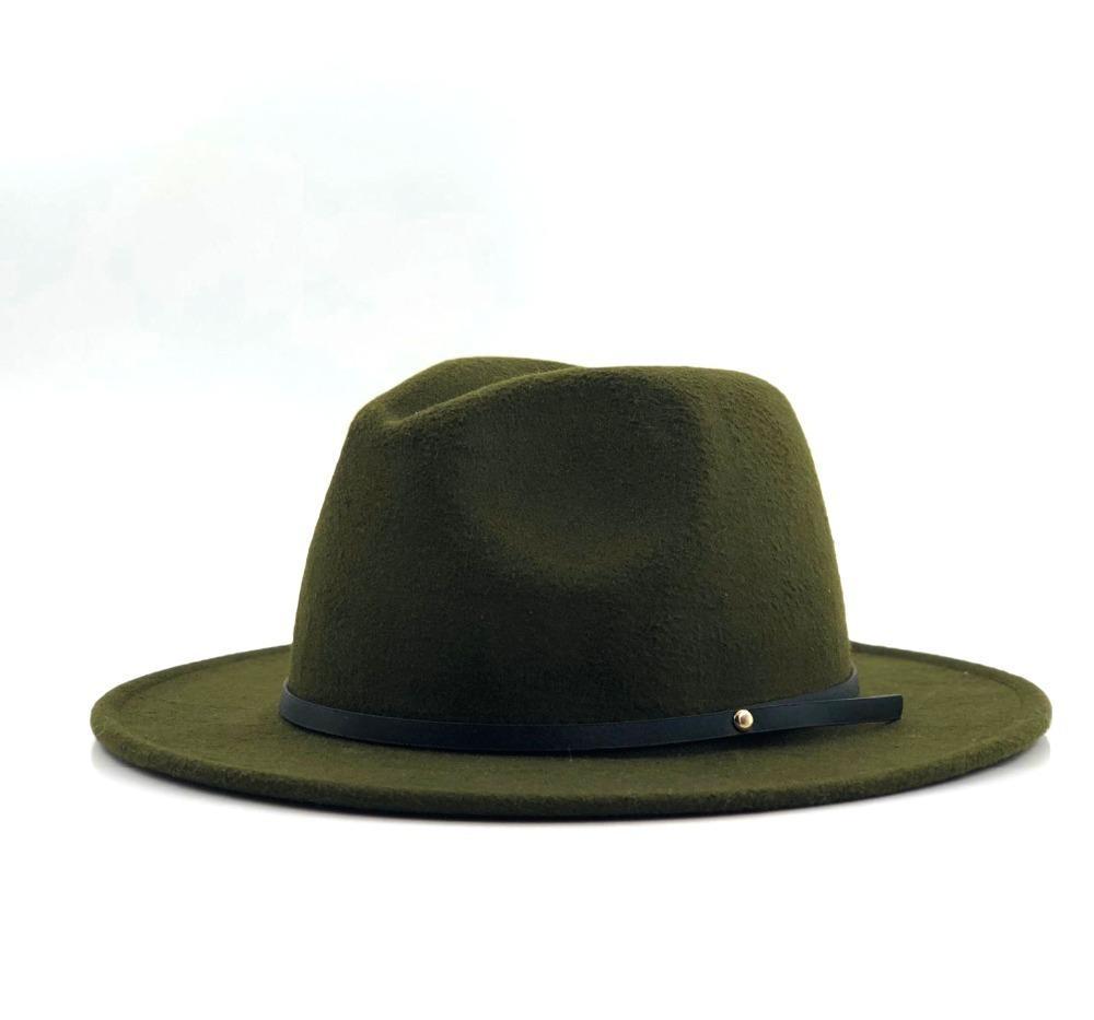 Lana sombrero de Fedora del fieltro Hawkins tope general de Tapas de ala del sombrero flexible Damas Chapéu Femenino Sombrero Hombres Mujeres Iglesia Jazz Padrino Sombrero