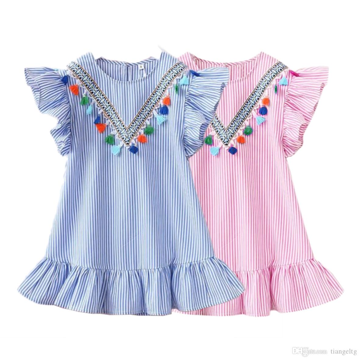 بنات مخطط اللباس مع الشرابة ورقة لوتس جولة كم الرقبة V تصميم بنات الطفل تنورة الزي 3-7T