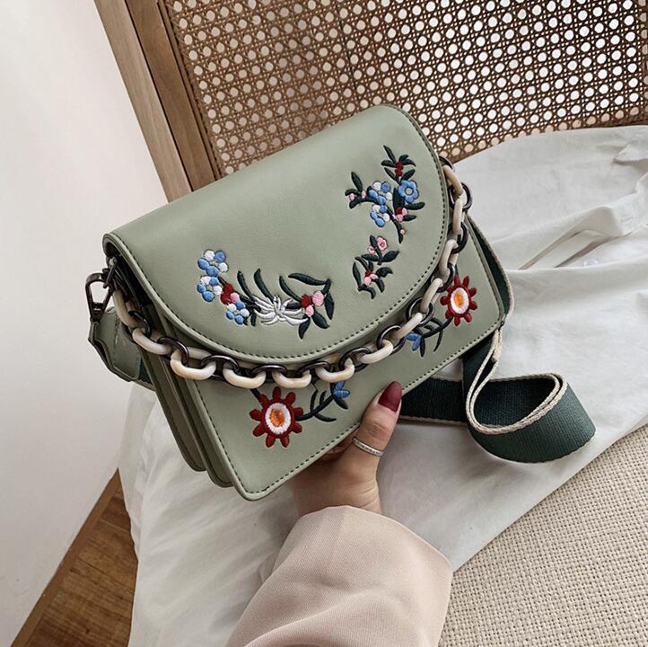 women handbag new leather ladies shoulder bag small fresh flowers embroidered women bag wide shoulder strap embroidered messenger bag