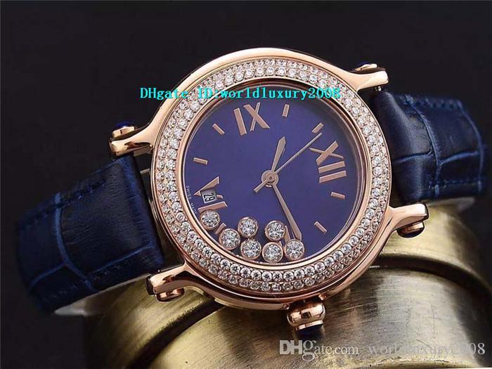 Розовое золото Алмазный Happy Sport Medium 36мм женские часы перламутр циферблат Sapphire Blue Аллигатор кожа кварцевые наручные швейцарские Womens