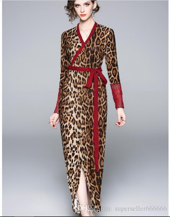 Mujeres vestidos de fiesta marca de moda Slim fit Sexy Leopard noche Ladies V-cuello abrigo en el pecho impresión Casual albornoz vestido largo
