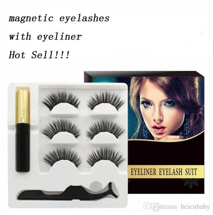 3D 5 Magnetic False Eyelashes with Magnet Eyeliner Mink Fake Eyelash 3 pairs Waterproof Liquid Tweezers Set Long Lasting Eyelash Makeup