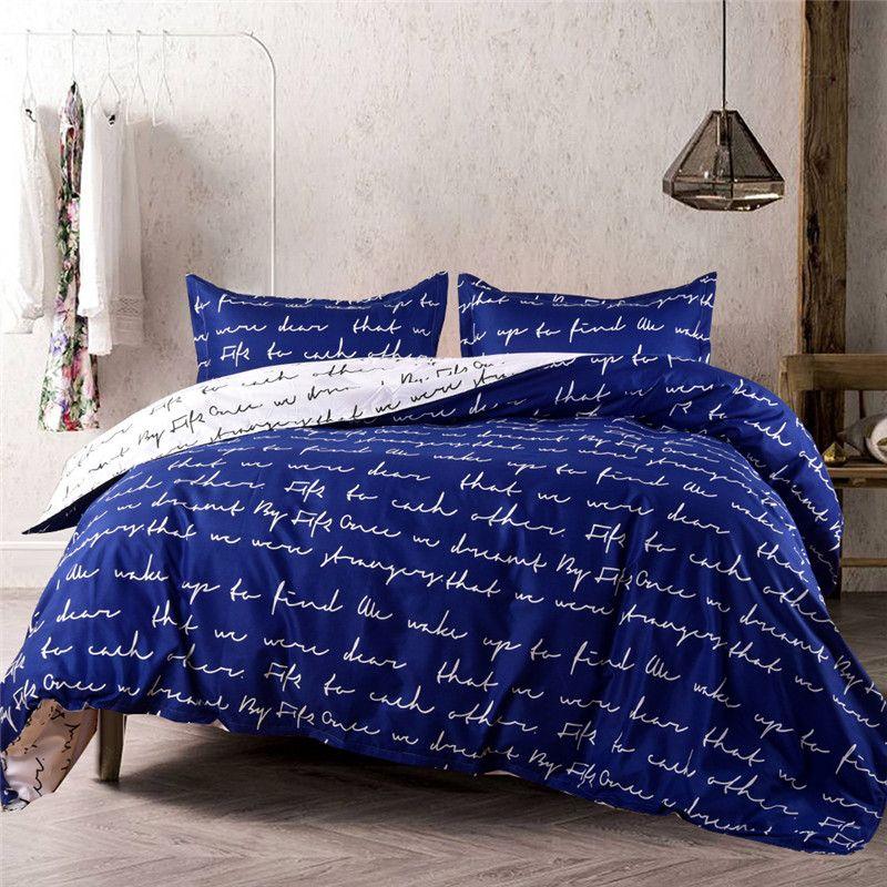 Rahat Çift Love Letter Romantik Üç Yatak Seti Kış odası Çift Nevresim Yastık kılıfı İkiz Giyim bedset Yatak
