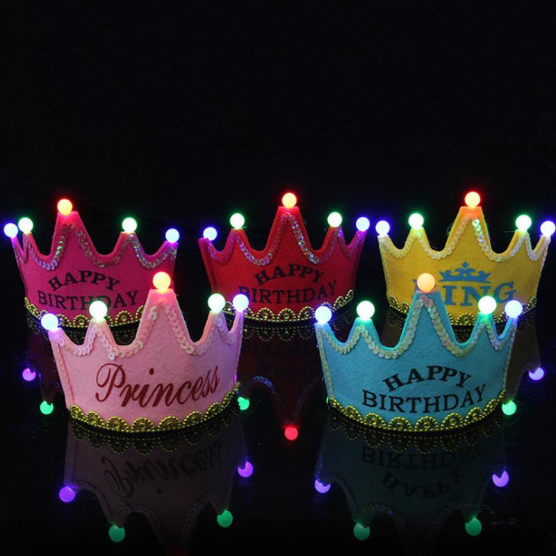 Doğum Glisten Roman Partisi Çocuklar Güzel Yıldönümü Illuminate Taç Şapka KingPrincess 1pc Yeni LED Bebek Besleme