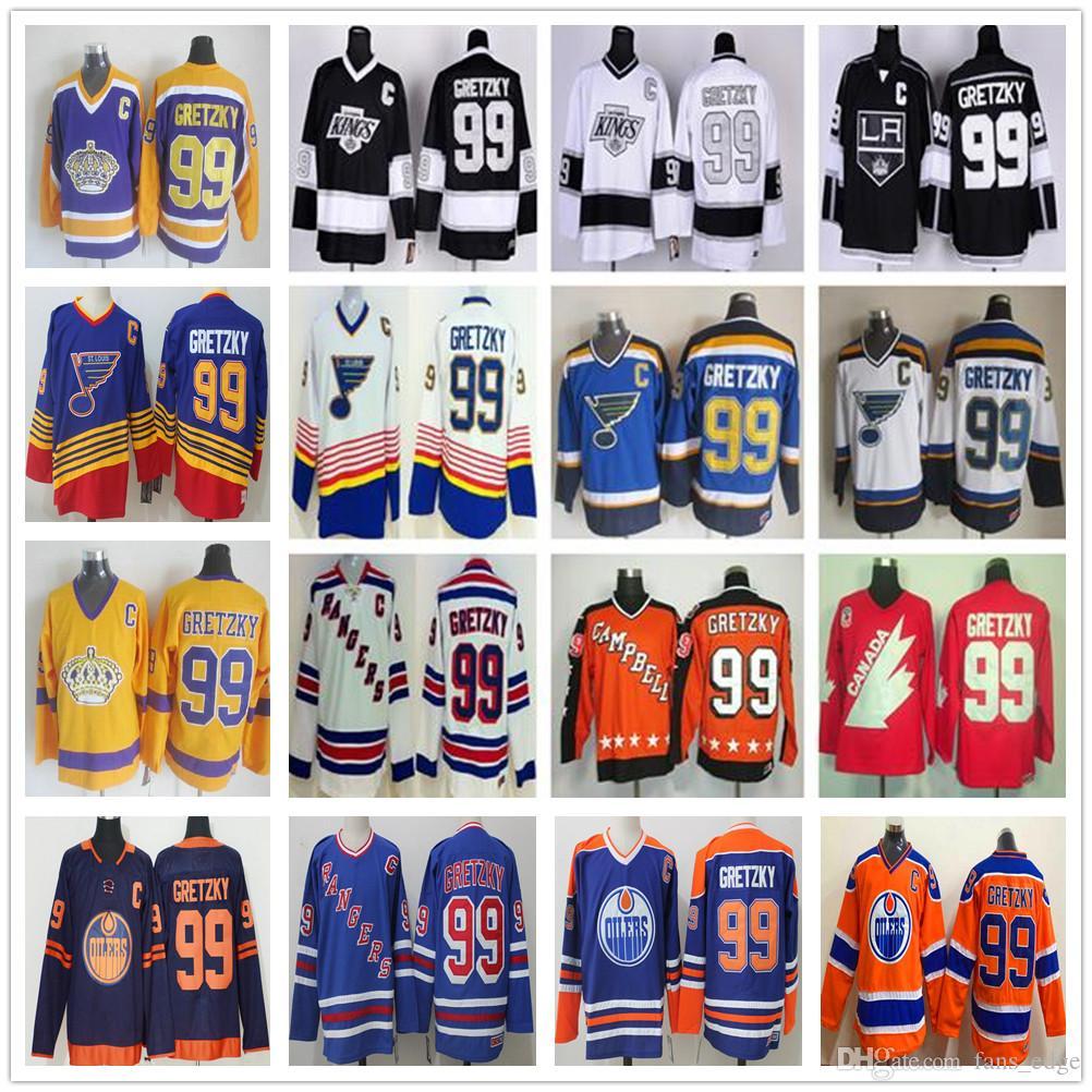 Costurada Vintage LA Los Angeles Kings # 99 Wayne Gretzky Jerseys New York Rangers Hockey Jersey St Louis Blues Azul Branco Preto Laranja Amarelo