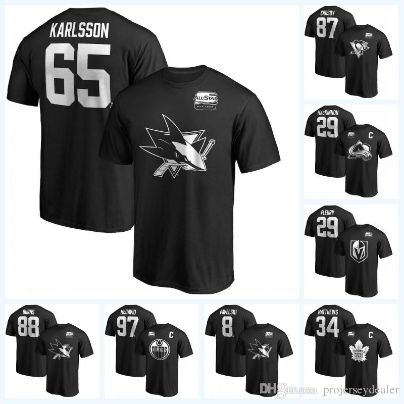 65 Erik Karlsson 2019 All-Star Game T-shirts 29 Marc-Andre Fleury 87 Sidney Crosby 29 Nathan MacKinnon 88 Brent Burns 97 McDavid Jersey