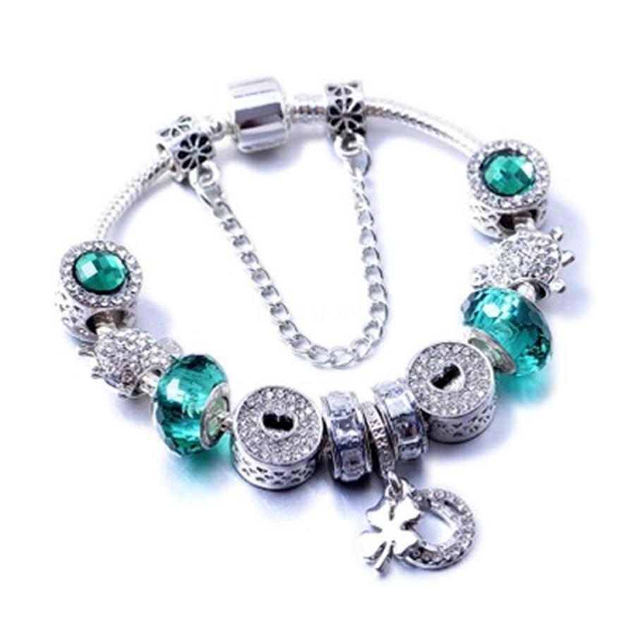 Luxury Jewelry Set Diy Bead Bracelets For Women Naturall Glass Braclets And Pendant Crystal Sterling Alloy Necklace#909