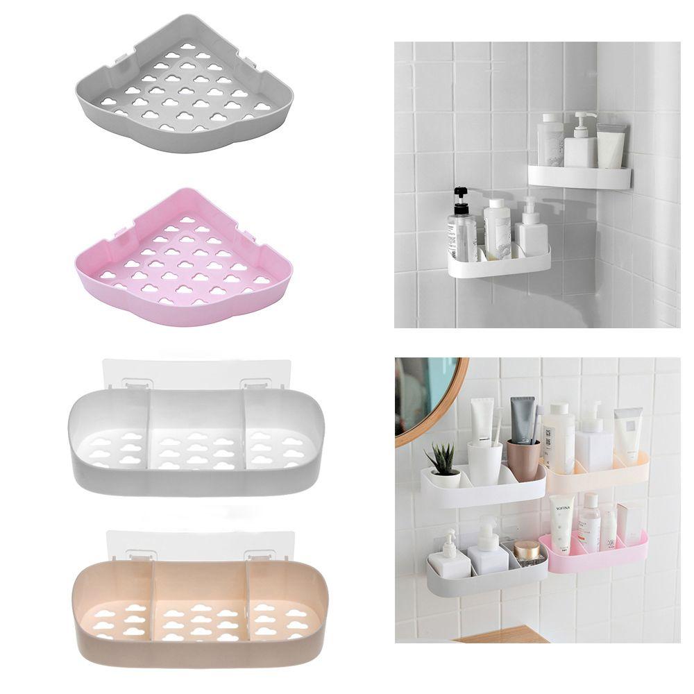 Bathroom Shelf Adhesive Storage Rack Corner Holder Shower Gel Shampoo Organizer Basket Kitchen Home Decoration Bathroom Tool