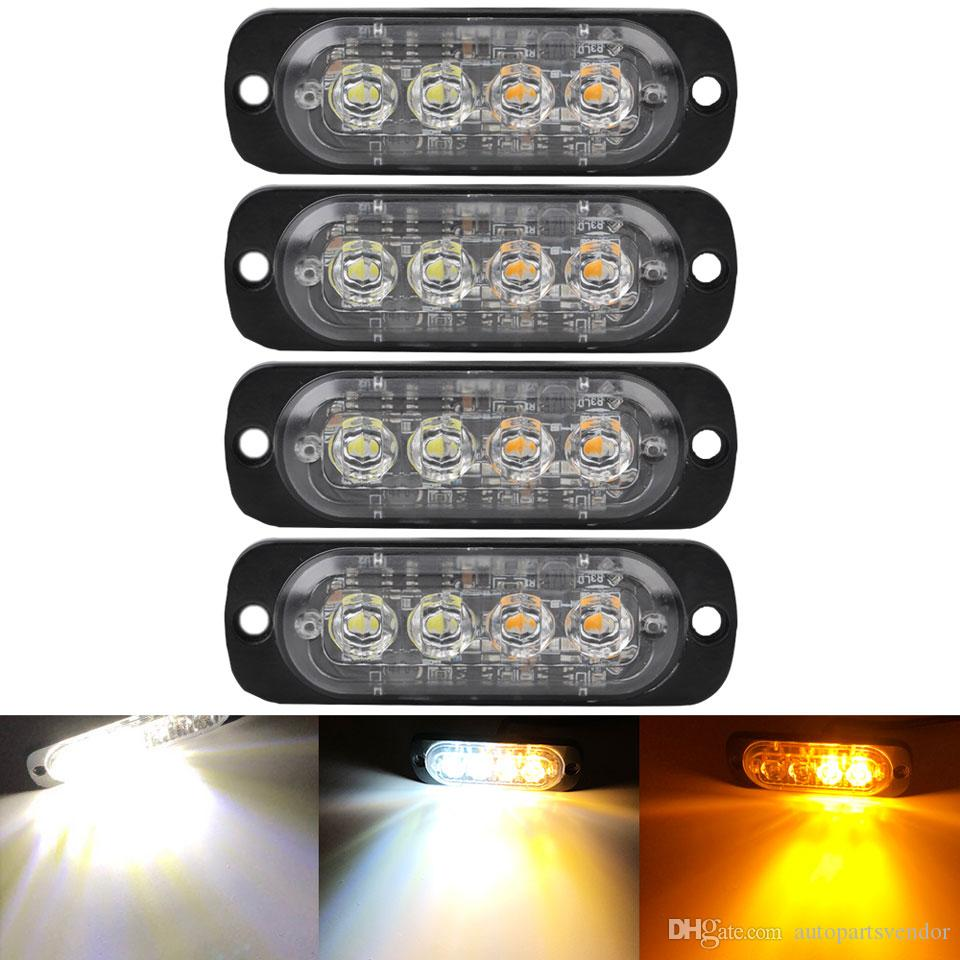 4X 4 LED de la motocicleta del coche camión de advertencia flash estroboscópico luz de advertencia amarilla blanca niebla de Trabajo luminosa estroboscópica Lámparas Accesorios