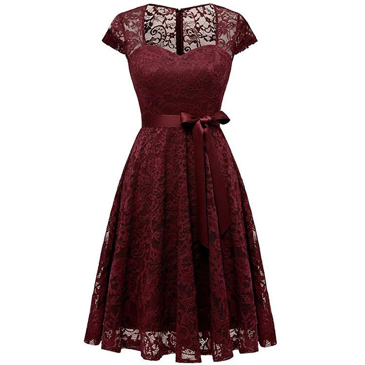 Cross-border supply 2020 summer new love collar lace dress with short sleeves women lady's dress red
