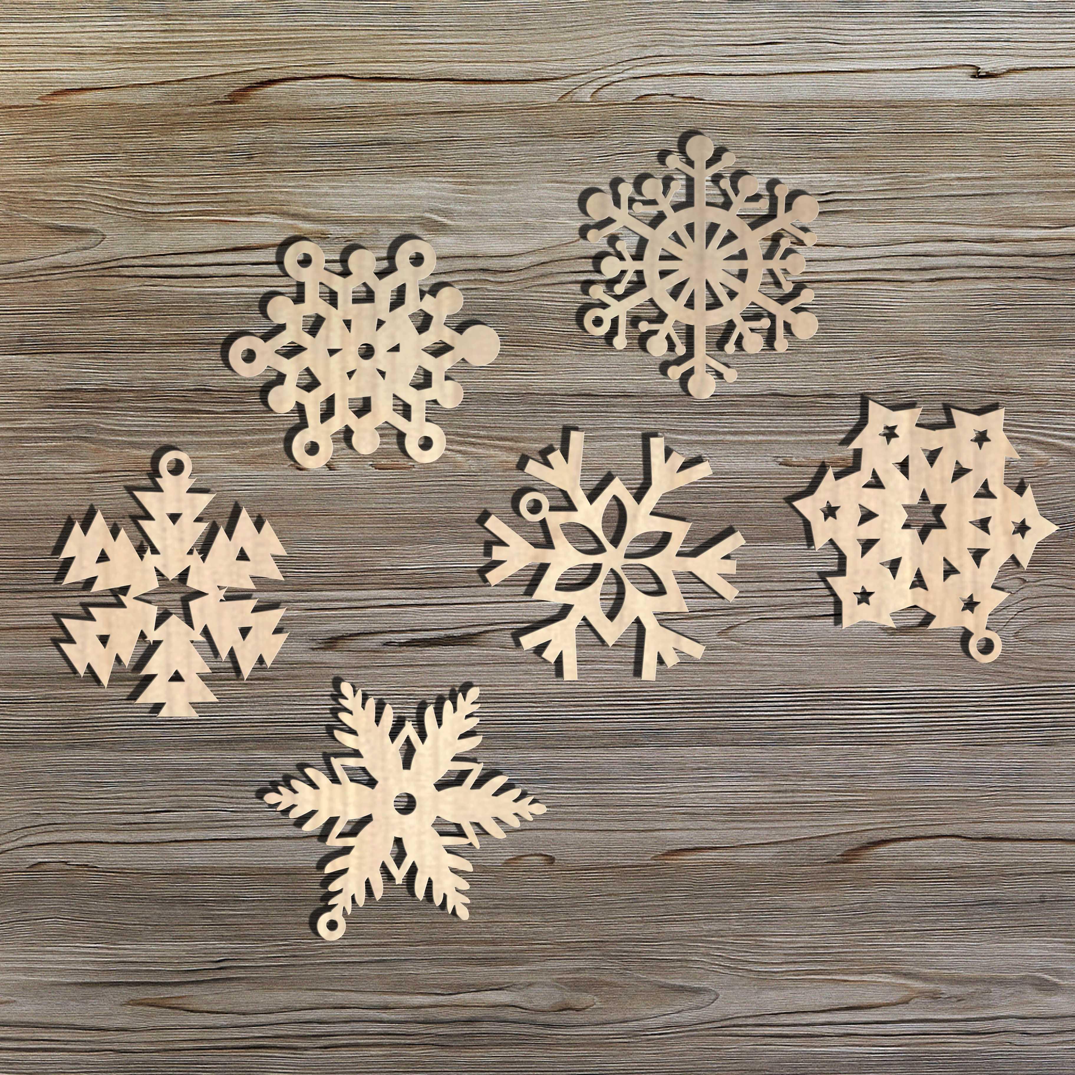 12 Metallic Silver Wood Snowflake Ornaments Snowflakes Laser Cut Wood Decor Christmas Decor