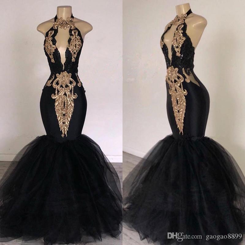 2019 sexy Black Prom Dresses with Gold Applique Mermaid South Africa Formal Evening Dress Halter Neck Sweep Train pageant Party Dresses