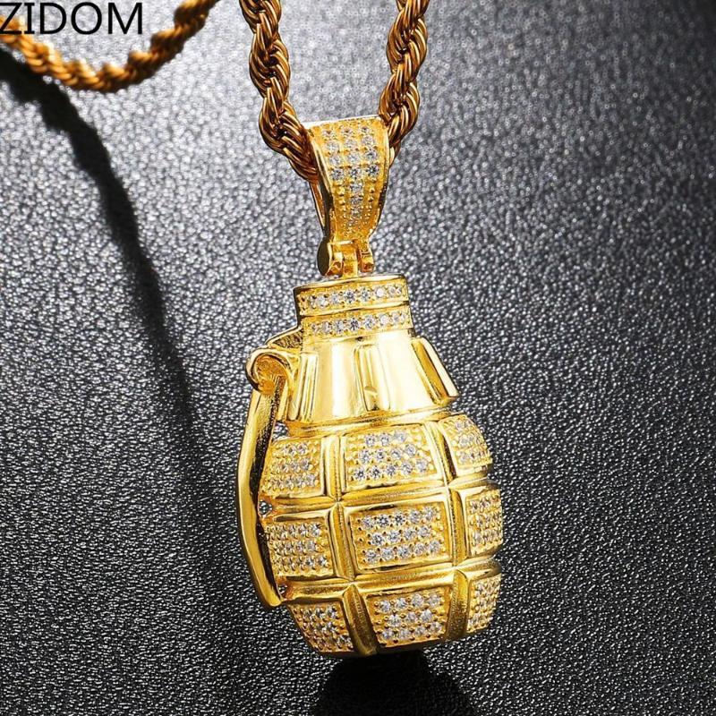 Los hombres Hip Hop Bling hacia fuera helada forma de la granada colgante collares joyas de alta calidad circón collar de Hiphop de la manera del envío de la gota