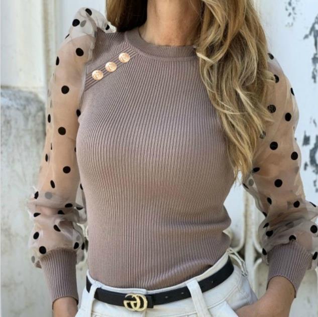 Mesh Puff Sleeved Designer Tshirts Women Button Panelled Sweet Sexy Slim Dots Crew Neck Tshirts Womens Fashion Tees