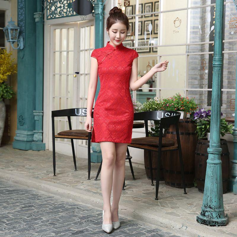 رخيصة الأحمر الصينية الدانتيل cheaongsam لمناسبة خاصة حزب الرقبة العالية قصيرة الأكمام فوق الركبة كوكتيل الحفلة الراقصة الساخن بيع النساء التنانير